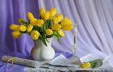 Notes, candle, tulips, still life