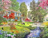 Houses-rural-garden-scene-stream-bridge-family-relaxing-painting