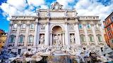 Trevi fountain sunny day rome italy