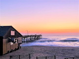 Morning at ocean front restaurant and pier Outer Banks North Car