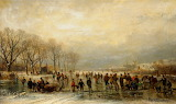 A Frozen River Scene by Adolphe Stademan