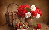 #Basket, Flowers & Strawberries Still Life