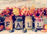 Mason jars filled with FALL