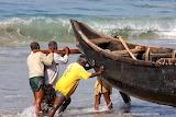 Fishermen-pushing-boat