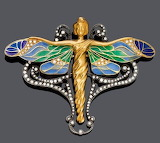 ART NOUVEAU JEWELLERY GOLD FIGURE & WINGS