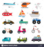 Illustration of various modes of travel, transport on white back