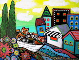 folk art cats, Pristine Cartera Turkus