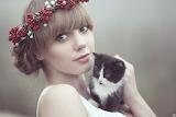 Girl and Cute Kitten