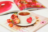 Love, flowers, tea, heart, roses, petals, Cup, magazine