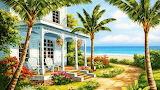 Coastal-Cottage-Painting-Wallpaper