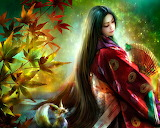 Autumn 3d fantasy girl wallpaper