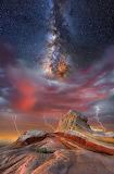 Desert lightning and milky way