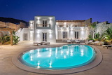 Luxury Mykonos Villa and pool at night