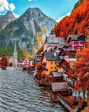 Mountain Autumn lake view