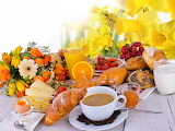 ^ Breakfast, bread, coffee, flowers, strawberry, cheese