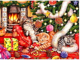Playing cats in Christmas tree
