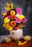 ^ Still life with autumn chrysanthemum flowers in a vase