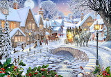 Winter-village-stream-painting-by-Steve-Crisp