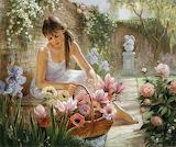 Peinture-femme dans son jardin
