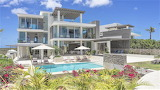 Modern white, glass and stone villa, and pool in Anguilla