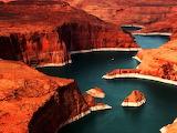 Lake Powell Colorado River On Border of Arizona and Utah USA
