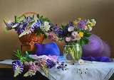 Flowers, lupin, basket, book, fabric, basket, hat, vase