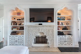 Moroccan Fireplace Bookcase