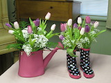 ^ Tulips and Babies Breath in Watering Can and Rain Boots