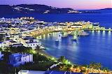 Blue hour port of Mykonos Island Greece