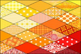 Diamond Patchwork Pattern, Orange-Red Tones