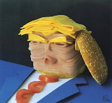 Trump sliced ham and cheese food portrait, by Asler