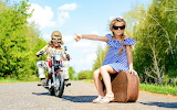 Road, boy, dress, glasses, motorcycle, girl, suitcase
