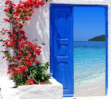 blue door, sea view