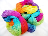 Big skein of yarn in a rainbow of colors