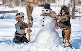 Winter, Snow, Children, Hat, Snowman, Caps, Boys