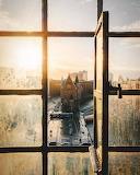 Sunrise through open window Hamburg Germany
