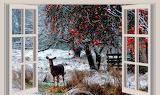 Deer & Snow Christmas Window View
