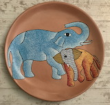 POTW Baby Elephant on Gond Pottery