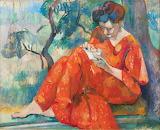 Henri Manguin, Couseuse rouge, 1907 (détail)