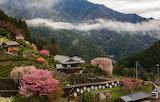 Japan houses, mountains
