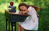 Girl, school, desk, books, apple, sleeping, nature