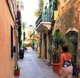 Picturesque street in Chania old town