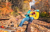 Road, autumn, forest, nature, rails, guitar, dog, boy, child, po