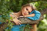Girl, greens, look, leaves, branches, nature, tree, dress, blond