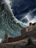 Giant-tsunami-waves-crashing-old-fortress