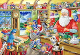 Colours-colorful-Santa Claus and elves in the toy workshop-by Ra