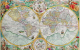 Old map of the globe