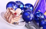 christmas balls and cake