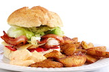 ^ BLT sandwich with home fries