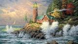 Wood painting art house beacon storm sailing vessel
